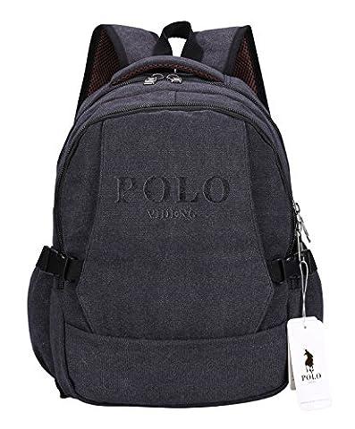 Sac à dos pour ordinateur portable,VIDENG POLO Entreprise Toile Sacs à main Bookbag pour le collège Voyage Sac à dos pour Moins de 15 17 pouces Portable (Noir-BCS)