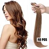 Extensiones cinta adhesiva de pelo natural #27 Rubio oscuro 55cm - 40piezas - Tape in Remy Hair Extensions