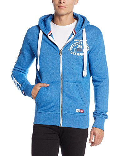 SUPERDRY Trackster Ziphood, Felpa Uomo, Royal Gritrlx, 2XL