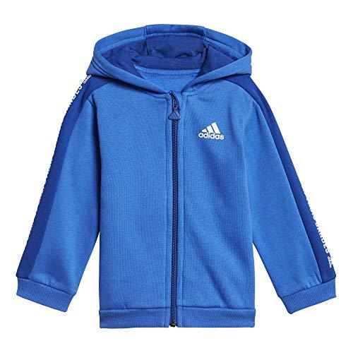 adidas Baby 3 Stripes Full Zip Hooded Fleece Trainingsanzug, Blue/Collegiate Royal/White, 98 -