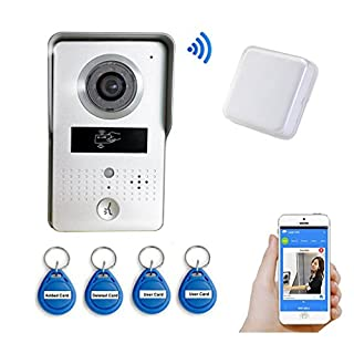 Wireless Outdoor Bell and 4 PCS ID Keyfobs Wifi Visual Two-Way Intercom Doorbell IP Video Door Phone Bell Remote Control Unlocking support IOS Andriod APP