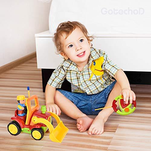 RC Auto kaufen Baufahrzeug Bild 6: Gotechod Ferngesteuerter Bagger, Cartoon RC Radlader mit Licht Musik Greifer, Spielzeugauto mit Fernbedienung für Kleinkind Kinder ab 2 Jahren*