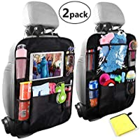"Car Organisers,Car Back Seat Organiser,Car Tablet Holder,Waterproof Backseat Cover 5 Storage Pockets,Kids Kick Mats,Seat Back Protectors with 10""iPad Holder,Family Road Trip Travel Accessories(2pack)"