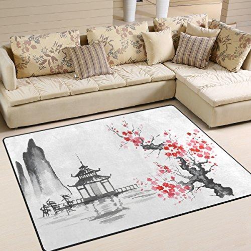 Use7 Teppich, traditionelles Japanisches ?lgem?lde mit Kirschbl¨¹tenmotiv, f¨¹r Wohnzimmer, Schlafzimmer, Textil, Mehrfarbig, 203cm x 147.3cm(7 x 5 feet) (Traditionelle Teppiche 5x7)