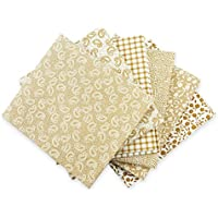 The Craft Cotton - Lotto di 6 scampoli di tessuto 45,72 x 55,88 cm, stampati, colori: beige e bianco - Quarter Fat Fq Bundle