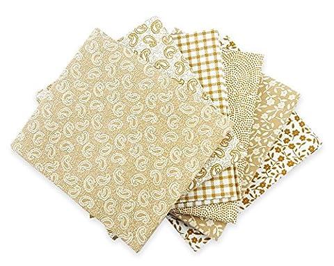 The Craft Cotton 18 x 22-Inch 6-Piece Fat Quarter Beige and White Printed Fabric Bundle - Quarter Fat Fq Bundle