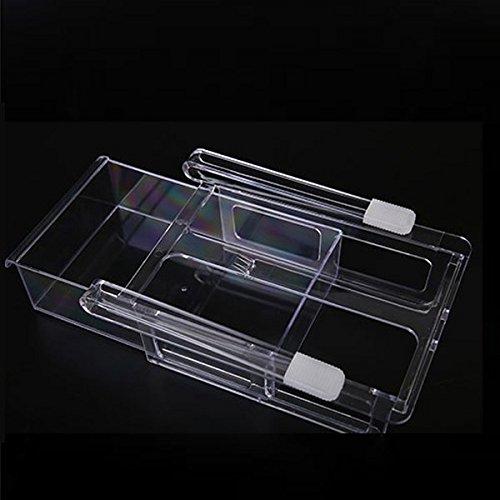 Organisateur/diviseurs tiroir extensible pour couverts, cuisine Réfrigérateur, Boîte de rangement en plastique Boîte tiroir réfrigéré, 15*20*5cm,Transparent