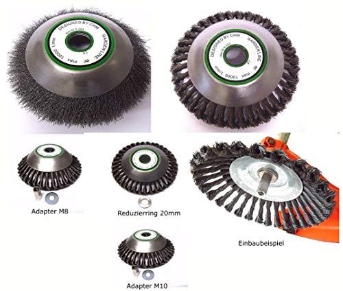 ! PROFI ! Wildkrautbürste Motorsense hart od. soft 25,4 x 200 mm mit verschiedenen Adapter-Sets zur Auswahl für alle Motorsensen auf dem Markt. Hohe Standfestigkeit ! (Bürste hart m. Adapter M10)