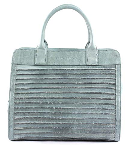 FREDsBRUDER Große Liebe Ledertasche Handtasche Damen Umhängetasche - 35x30x16 cm (B x H x T) (Light Blue)