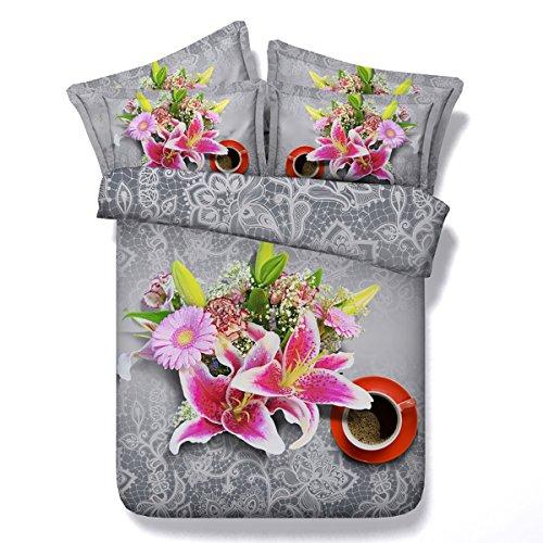 HUANZI Grau Bettbezug 3D Lily Flower Pattern Digitaldruck lila Faser Material Bettwäsche-Sets, 150*200 (Lily-bettwäsche-set)
