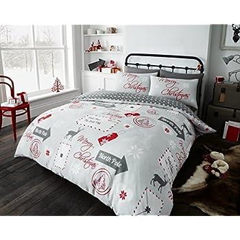 Merry Pugmas Christmas Modern Printed Pug Duvet Quilt Cover Bedding Set
