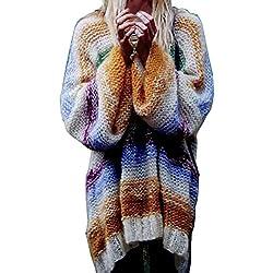Hiroo Las mujeres hacen punto el suéter de la raya Tallas grandes Cromático Elástico suelto Camisetas de tirantes largas Suave cómodo colorido Outwear (Tamaño libre, Multicolor)