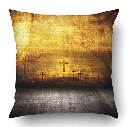 Kaixin J Throw Pillow Covers Brown Abstract Halloween Grunge Room Surreal Dark Horror October Scary Stage Antique Polyester 18 X 18 Inch Home Decor Pillow Case