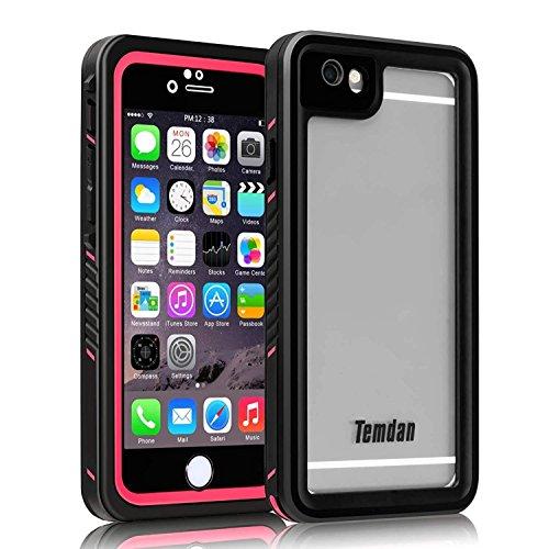 Temdan iPhone 6/ 6s Wasserdichte Hülle Outdoor Unterwasser Tauchende 360 Rundum Schutz Stoßfeste mit Eingebautem Displayschutz Wasserfeste Handyhülle für iPhone 6s/ 6 (4,7 Zoll) Pink