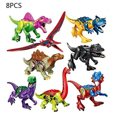 Motto.H 8 Arten Bunte Dinosaurier Bausteine, Dinosaurier Montage Spielzeug, Kinder Pädagogisches Diy Spielzeug Kompatibel Mit Für Lego.