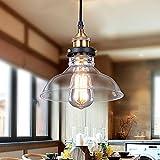 Glighone Lampada a Sospensione Stile Edison Vintage Industriale Lampadario da Soffitto Paralume in Vetro Attaco E27 (lampadina non inclusa)