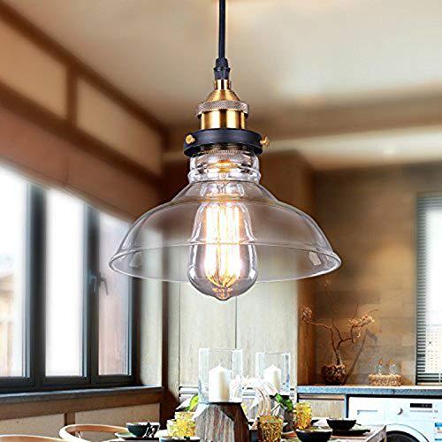 Lightess Lámpara Colgante Cristal Lámpara Vintage Luz Industrial Luz de Techo de...