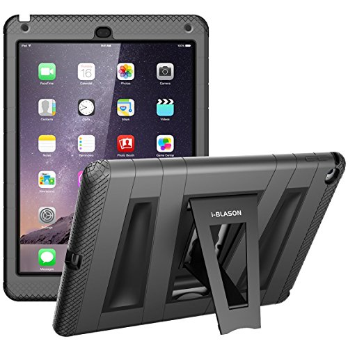 i-Blason Apple iPad Air 2 Schutzhülle, ArmorBox ABH Hülle mit integrierter Displayschutzfolie und Standhalter (Schwarz) Case/Cover/Gehäuse