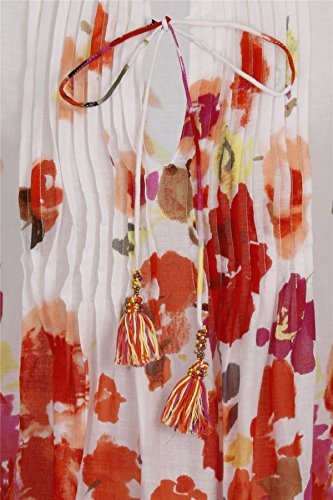 Boutique, Damen Gedruckt Biesen Chiffon Bedecken Tenue de plage Hemd rot Blumenmuster ärmellos