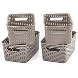 EZOWare Grigio Multiuso Cesto portaoggetti in plastica per Bagno e Cucina - Set di 4 / Piccolo
