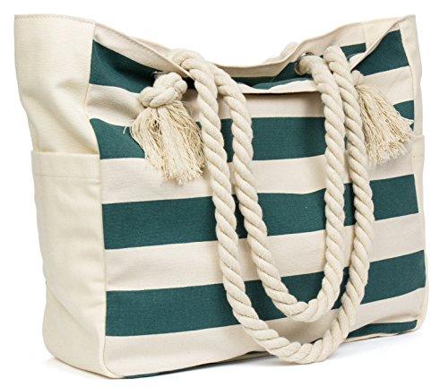 Malirona Grande borsa da viaggio in tela di canapa da spiaggia - Borsa perfetta per le vacanze (Blu) Verde