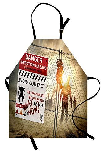 Zombie-Schürze, Dead Man Walking in Dark Gefahr Scary Szene Fiction Halloween-Infektion Bild, Unisex-Küche Latzschürze mit verstellbarem Hals für das Kochen Backen Gartenarbeit, ()