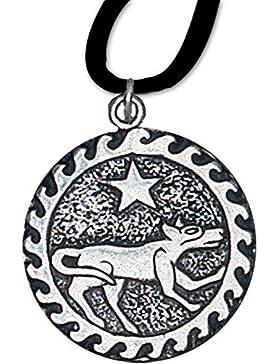 Ser Kai Anhänger Keltisches Sternzeichen (2. Juli - 24. Juli) 925er Silber Schmuck Amulett Willenskraft mit Lederhalsband 09