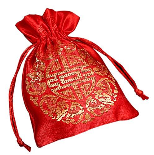 personalisierte Geschenk-Taschen Brokat Brautjungfer Geschenk-Taschen chinesischen Stil rot begeistert kundenspezifische Taschen 50Stücke (Tasche Brokat Rot)