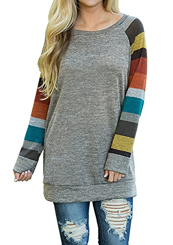Flying Rabbit Damen Baumwolle Shirt Tops Leicht Rundhals Pullover (L, Grau & Rot)