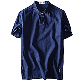 Ai.Moichien Men Summer 100% Cotton Linen Short Sleeve T Shirt Grandad Collar Casual Top Blue 4XL