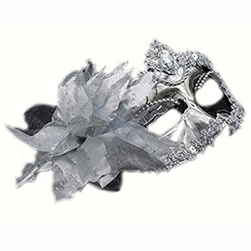 ParttYMask Maskerade,Halloween männliche Maske weibliche Kinder cos Erwachsenen Make-up Abschlussball sexy halb Gesicht Silber Masquerade