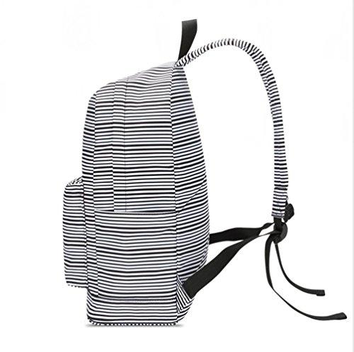 WanYang Rucksack Freizeitrucksack Daypacks Casual Canvas Schulrucksack Set+Paket +Geldbeutel Backpack für Jungen & Kinder Jugendliche Herren Streifen