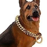 YOLANDE Hundehalsband, Panzerkette im Hip-Hop-Stil, Gold, breit, 14 mm, Flachpanzerkette, kubanisch, 316L-Edelstahl, für Ihren Hund, Würge-Halsband 12-34 inch,34