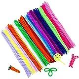 100 x DA. WA coloré cure-pipes chenille Potence pour arts et travaux manuels DIY 6 x 300 mm (Envoyer 100 Yeux mobiles)