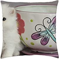 teacup & cute persian kitty - Throw Pillow Cover Case (18