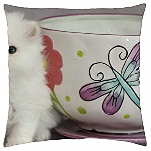 "teacup & cute persian kitty - Throw Pillow Cover Case (18"" x 18"")"