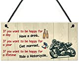 Red Ocean Happy Life Motorcycle Funny Motorbike Man Cave Hanging Plaque Garage Gift Sign