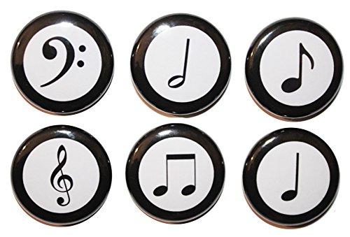 Button Zombie Kühlschrank-Magnete, Motiv: Musiknoten, 2,5cm, hergestellt in Großbritannien, stahl, multi, 25mm (1 Inch)