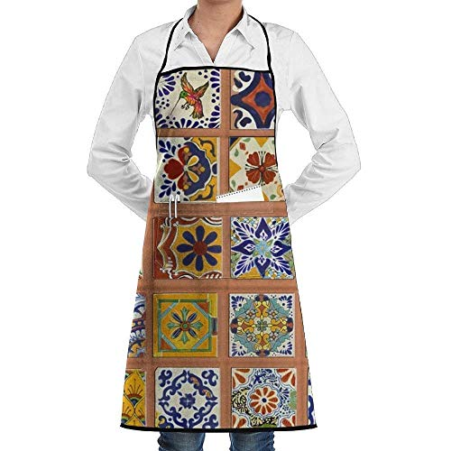 Unisex Talavera Mexican Tiles Bib Apron Waterdrop Resistant with 2 Pockets 28.5 X 20.5 for Cooking Baking Crafting Perfect Mother's Day Ladies Aprons Lefse Grill