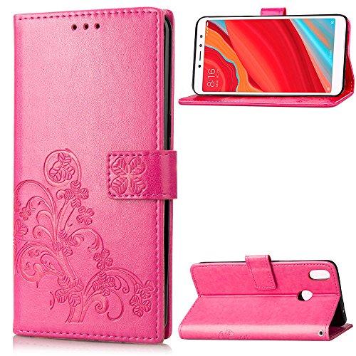 LAGUI Funda Adecuado para Xiaomi Redmi S2, Los Adornos Bien Definidos y Grabados Carcasa Tipo Libro, de ranuras para tarjetas y soporte horizontal y solapa con cierre magnético, rojo