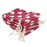 MagiDeal 10 Stücke Leinen Säckchen Schmuckbeutel Kordel Geschenkbeutel Schmucksack - Rot mit Herz Muster - 8 x 10cm