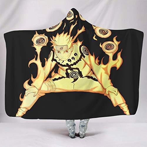 STBlanketshop Sherpa Mit Kapuze Decken Anime Feuer Ninja Chakra Thema Druck Kapuze Decke Winter Kostüme Stuhl White (Anime Themen Kostüm)