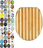 WC Sitz mit Absenkautomatik, viele schöne WC Sitze zur Auswahl, hochwertige und stabile Qualität aus Holz (Bambus Gestreift)