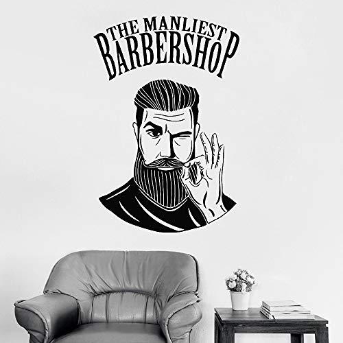 zqyjhkou Heiße Männer Friseursalon Zeichen Wandaufkleber Barber Shop Logo Aufkleber Fenster Aufkleber Dekor Wandtattoo Für Friseursalon Abnehmbare Lc480 42 cm x 62 cm