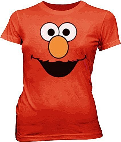 Sesame Street Elmo Face rot Junior Mädchen T-Shirt (Medium)