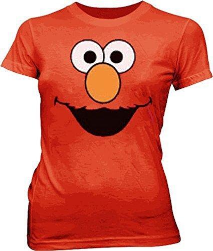 Sesame Street Elmo Face rot Junior Mädchen T-Shirt (Medium) (Shirt Junior-elmo)