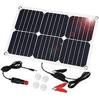 Suaoki - 18V 18W Cargador Panel Solar (Placa Solar Alta eficiencia, mechero de Coche, batería Pinzas de Carga, Tapas de succión, Mantenimiento de batería para vehículos)