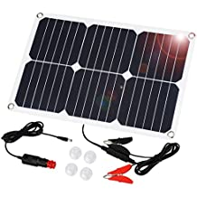 Suaoki 18V 18W Pannello Solare Fotovoltaico Portatile Caricatore per Batteria dell'Auto, Include Spina di Accendisigari, Pinza Cocodrillo, Ventose e Batteria Mautenzione per Auto Moto