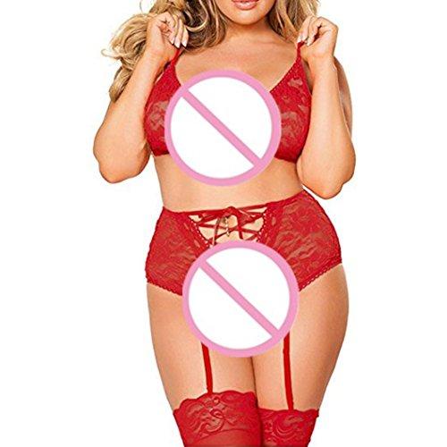 Ba Zha Hei Fashion Lace Unterwäsche Plus Size Uniformen Versuchung Strapsen Reizwäsche Transparent Spitze Unterwäsche Nachthemd Transparent Reizwäsche Neckholder Dessous-Sets (3XL, rot) (Size Plus Sheer)