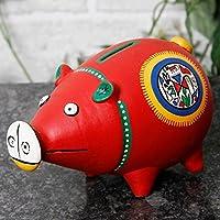 Preisvergleich für zerfasern Indien teracotta rot Warli handgemalt Sparschwein